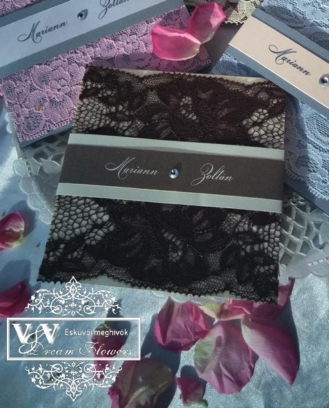 Csipkés esküvői meghívók strasszkővel - Ezüst, barack, rózsaszín és ekrü színű esküvőkhöz