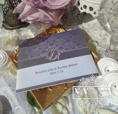 Lila elegáns stílusú esküvői meghívó