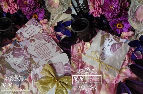 Lila levél mintás esküvői meghívók egy cseppnyi csillogással