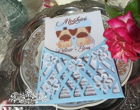 Kutyás mopszos esküvői meghívó strasszkövekkel
