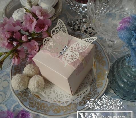 Dobozos esküvői meghívó strasszos pillangóval és csipkével