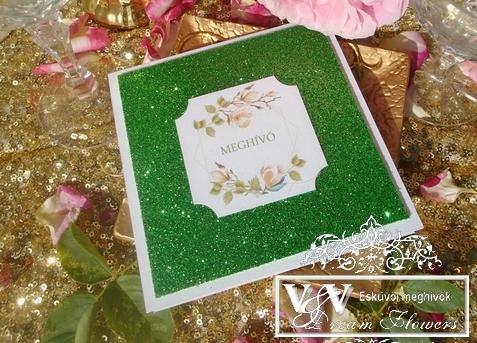 Esküvői meghívó almazöld glitterrel és magnóliákkal