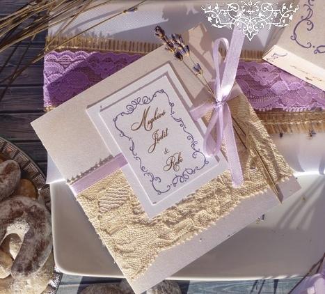 Esküvői meghívó levendulával, levendulás esküvői szett