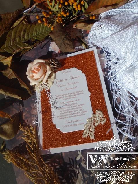 Réz színű csillogó glitteres esküvői meghívó őszi esküvőre