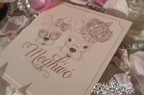 Esküvői meghívó francia bulldog kiskutyákkal