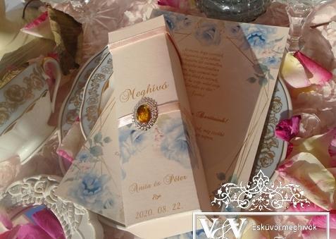Dobozos tekercses esküvői meghívó barack-kék színben