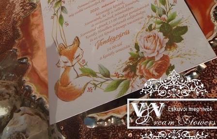 Kártyás esküvői megívó a Kis herceg rókájáva