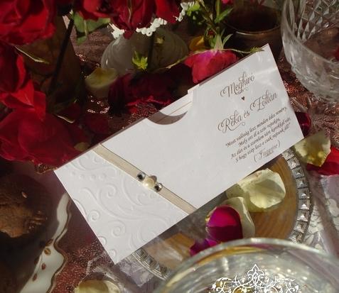 Akciós esküvői meghívó gyöngy díszítéssel