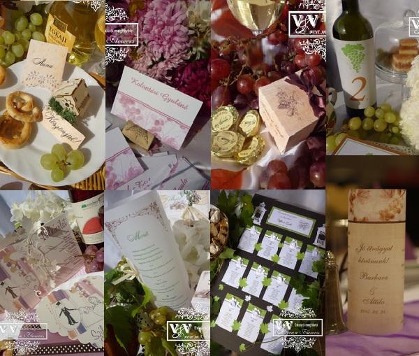Esküvői meghívók , menükártyák és egyéb különlegességek szőlős-boros esküvőkre