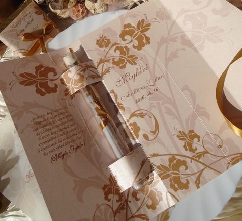 Kémcsöves esküvői meghívó barack-arany színben