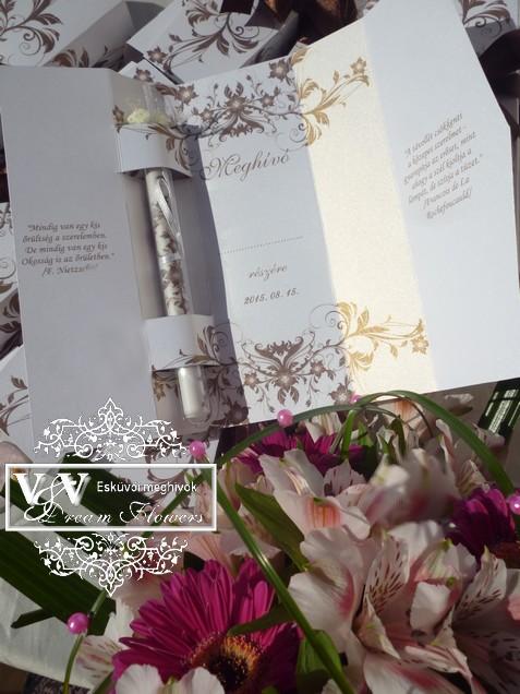 Kémcsöves esküvői meghívó díszdobozban fehér-barna