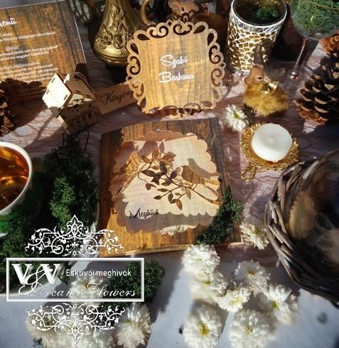 Esküvői meghívó, menü és ültetőkártya erdei esküvőre