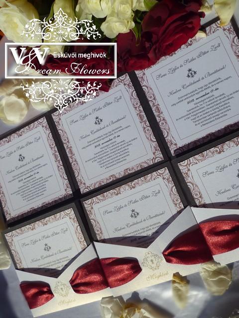 Esküvői meghívó elegáns dísztokban  bordó szalaggal