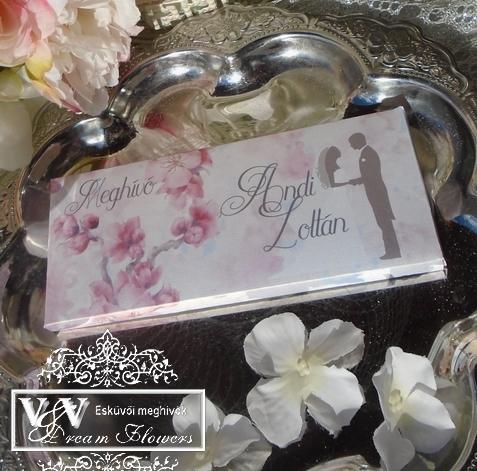Csokoládé esküvői meghívó - Cseresznyevirágos csoki meghívó