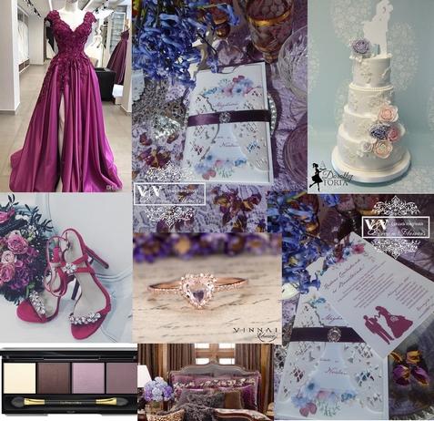 Padlizsán lila szalagos esküvői meghívó bross dísszel lila-kék álomesküvőhöz
