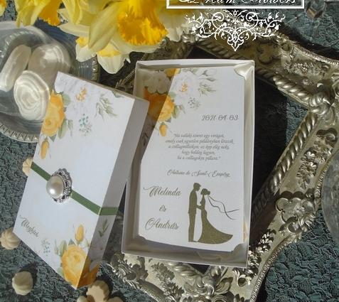 Dobozos esküvői meghívó sárga rózsákkal
