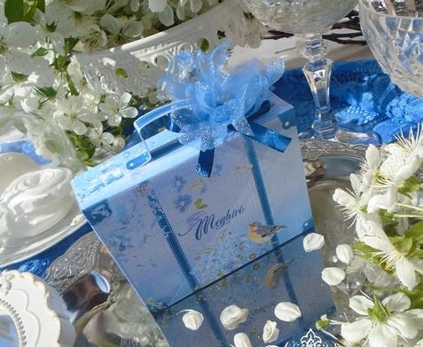 Bőrönd esküvői meghívó kismadarakkal
