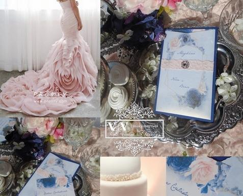 Geometrikus minta az esküvői meghívón rózsákkal körülvéve