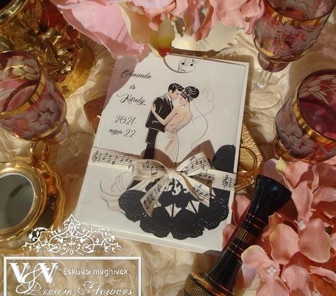 Esküvői meghívó hangjegyekkel - Zene és tánc kedvelők figyelmébe - a