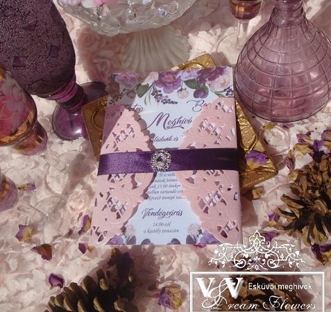 Padlizsán lila és rózsaszín esküvői meghívó - akár őszi esküvőkre is