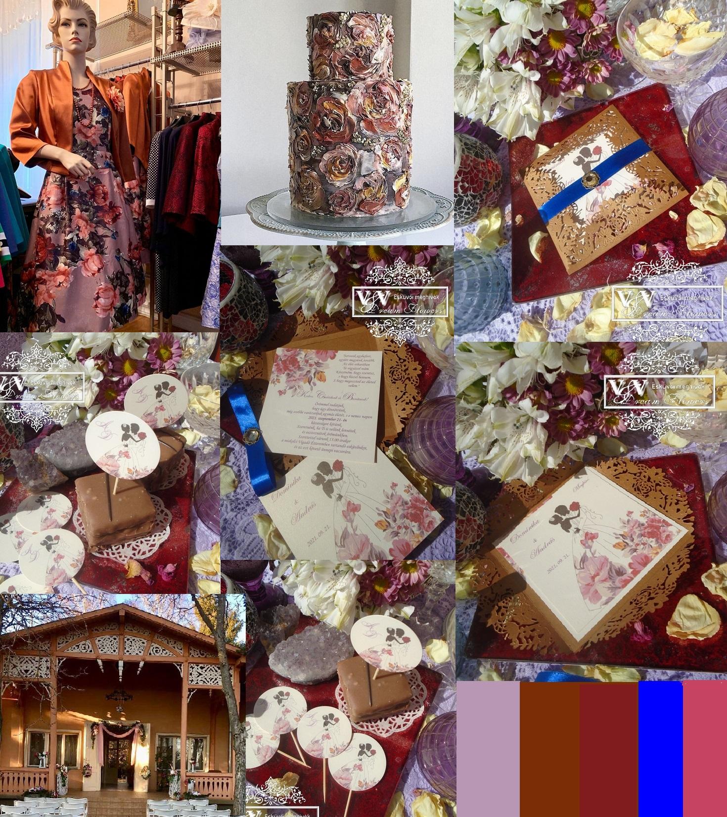 Bronz és pasztell lila színek kavalkádja őszi esküvőkre