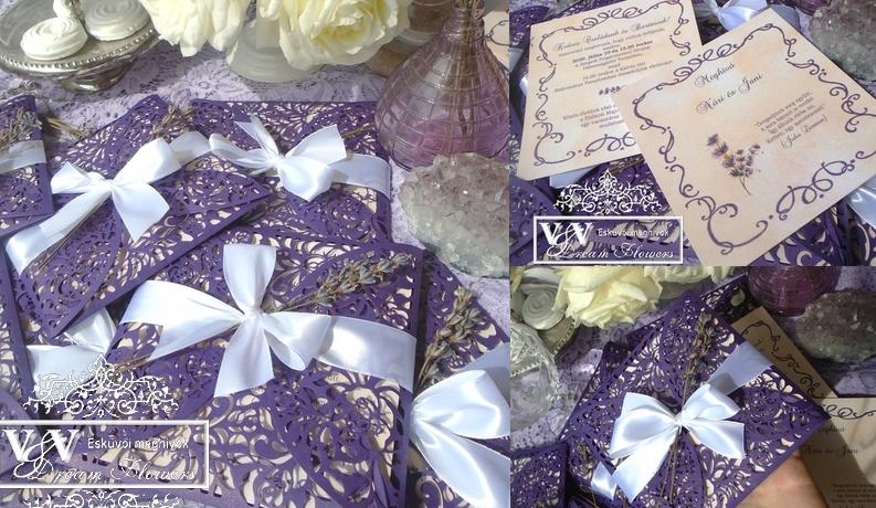 Levendulás esküvői meghívó sötétlila lézervágott tokkal és valódi levendulával