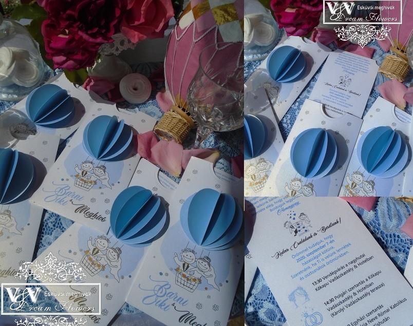 Kék hőlégballonos esküvői meghívó