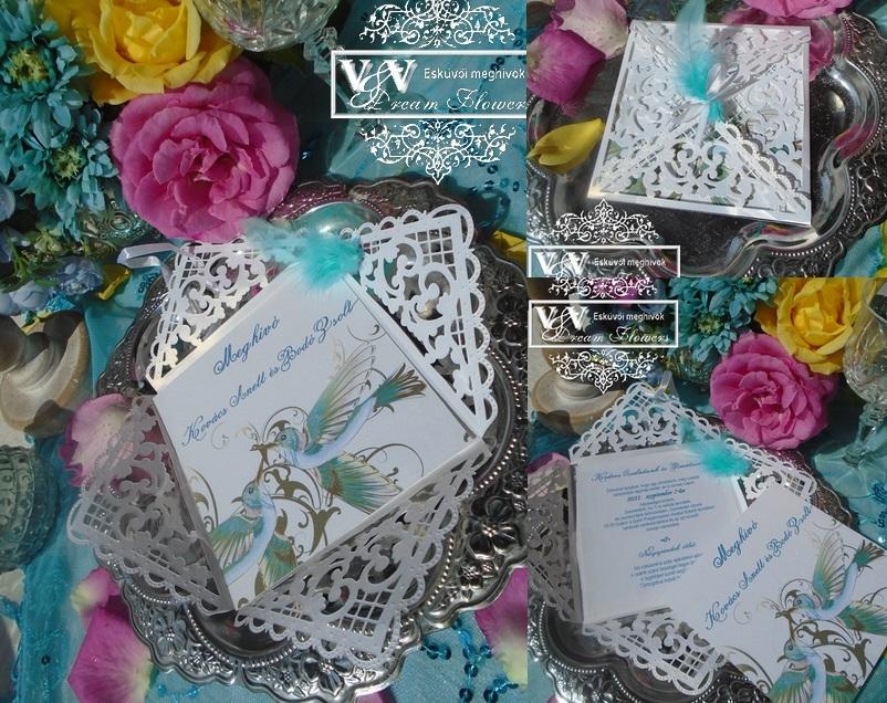 Lézervágott eksüvői meghívó szerelmes jégmadarakkal