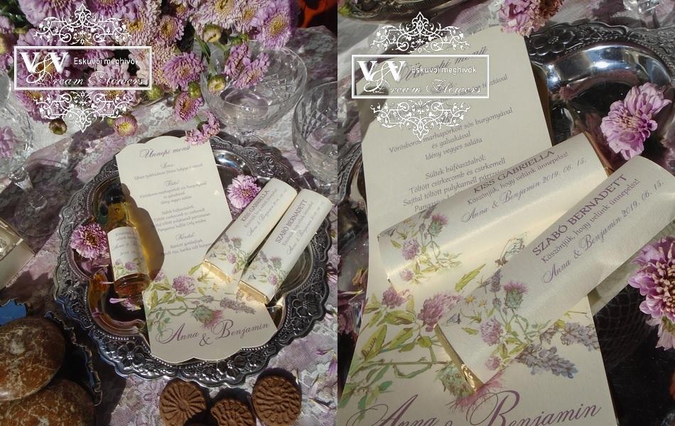 Vadvirágos csoki köszönetajándékok és esküvői menükártya