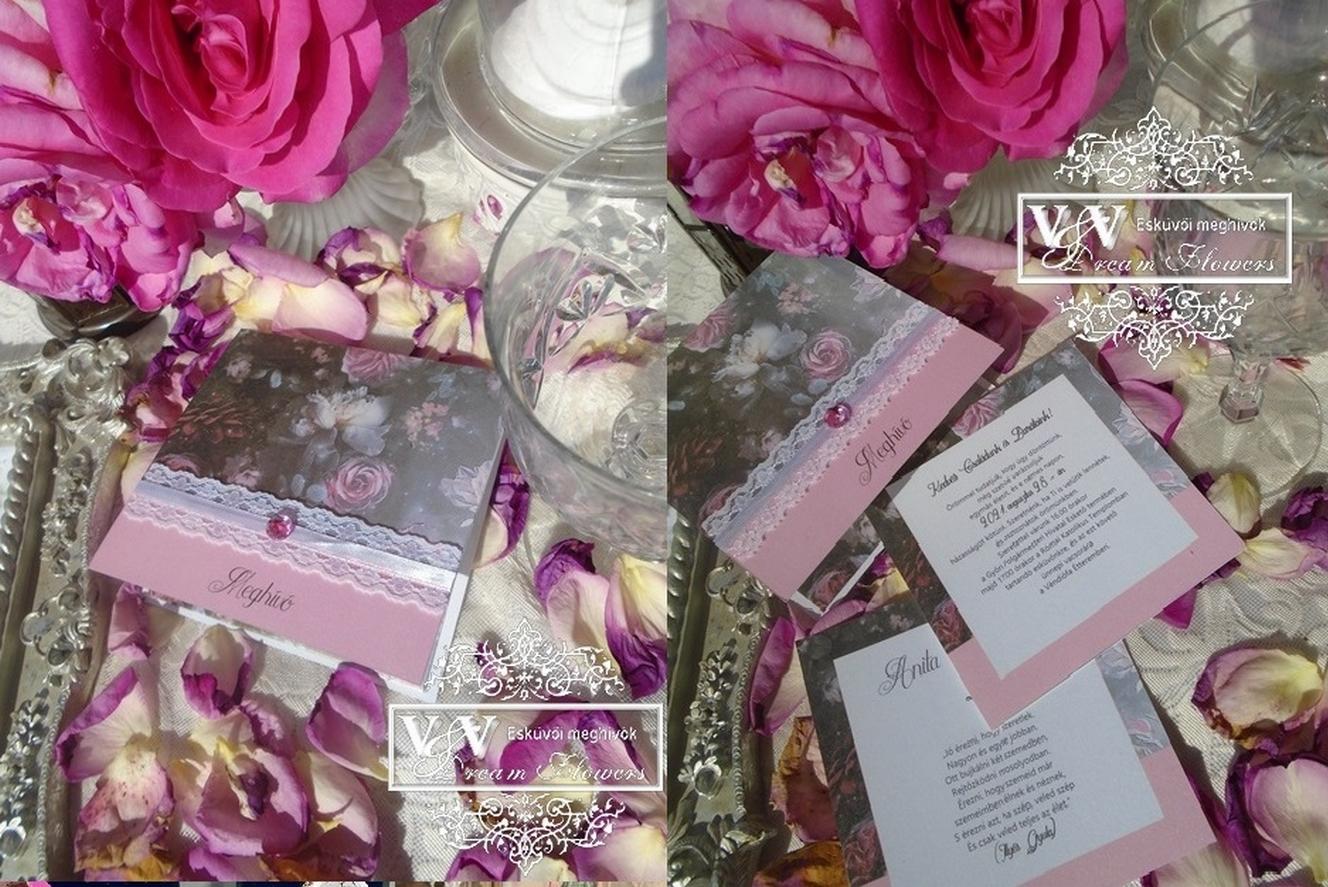 Csipkés esküvői meghívó az éjszaka rózsáival