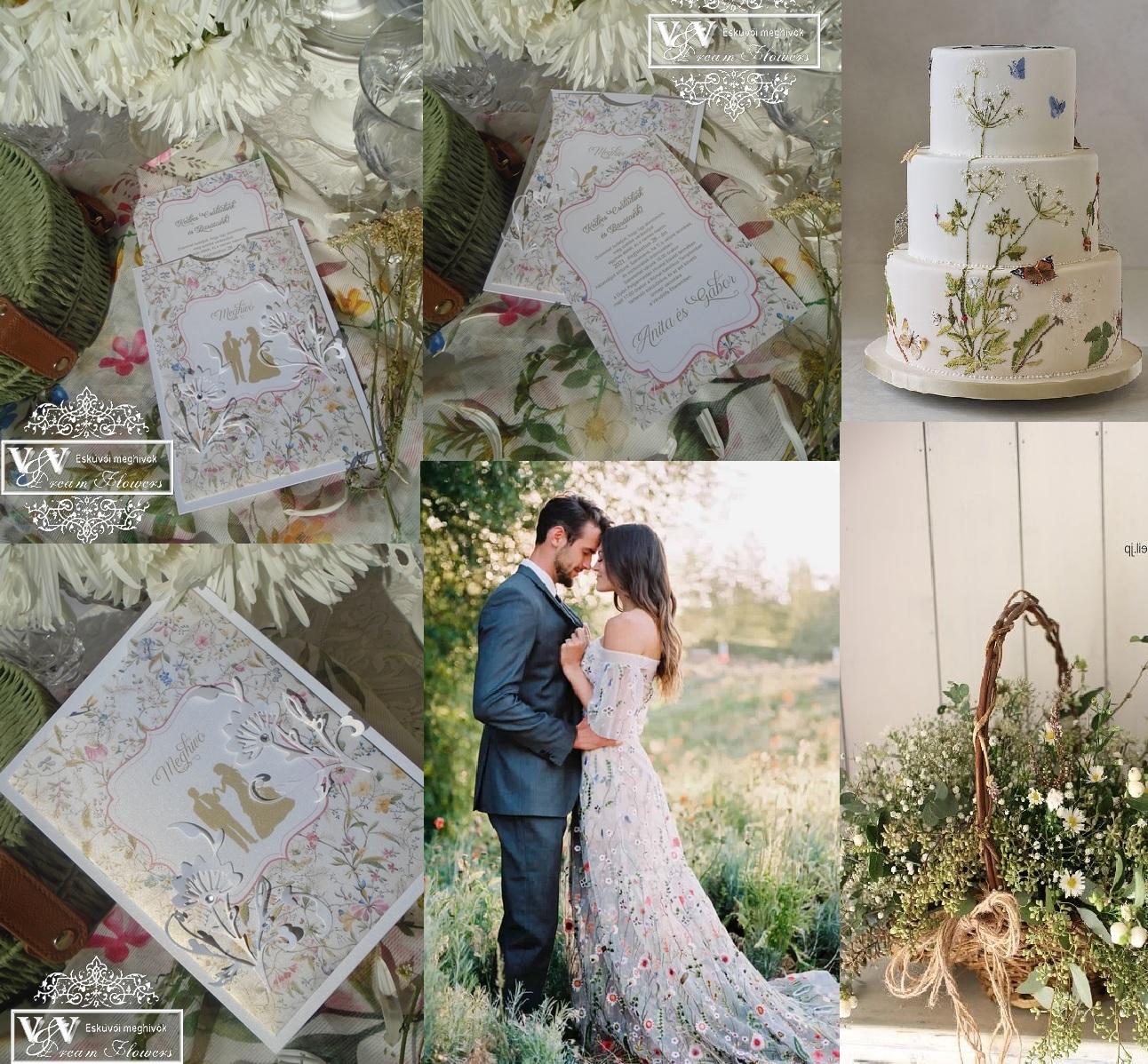 Vadvirágos gyógynövényes eküvői meghívó strasszkövekkel