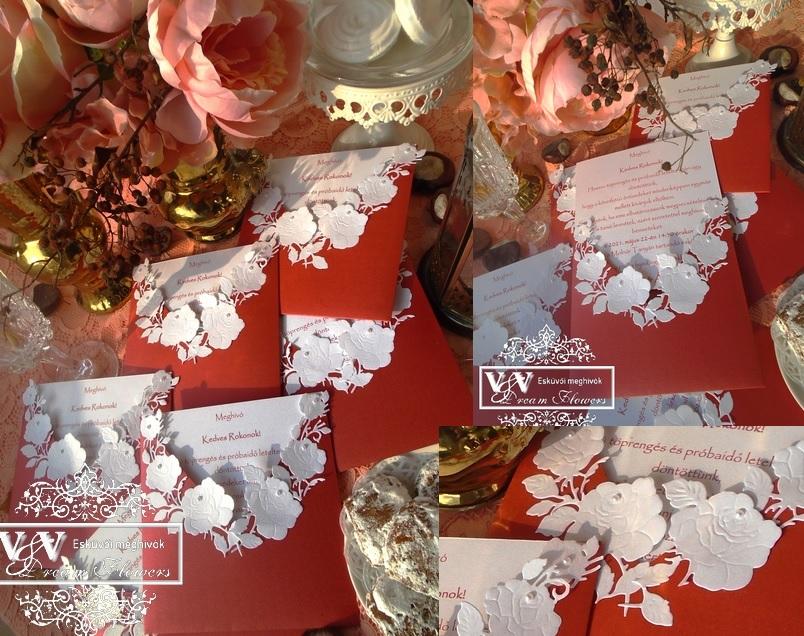 Magma piros esküvői meghívó rózsákkal
