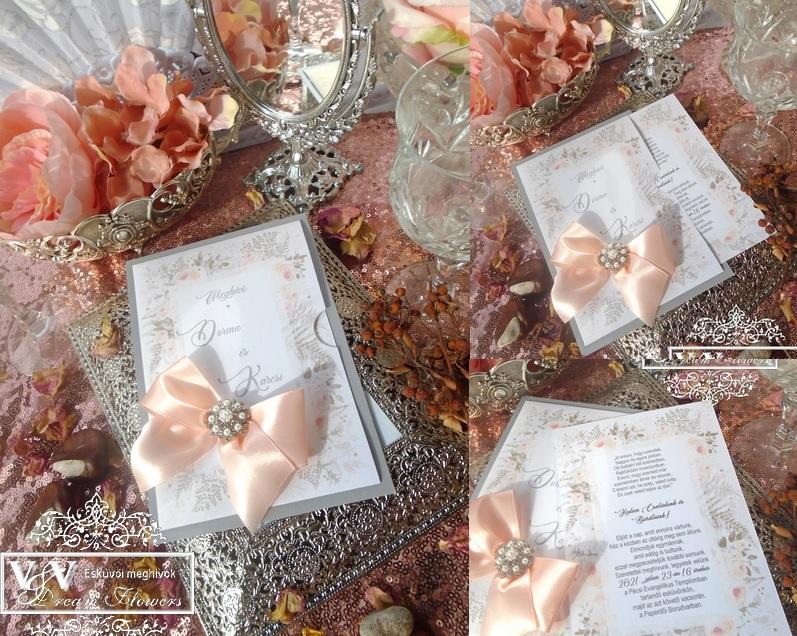 Esküvői meghívó gyöngyös bross dísszel és barack masnival