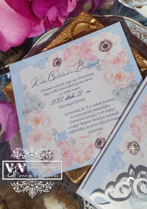 Babakék és rózsaszín esküvői meghívó strasszkövekkel