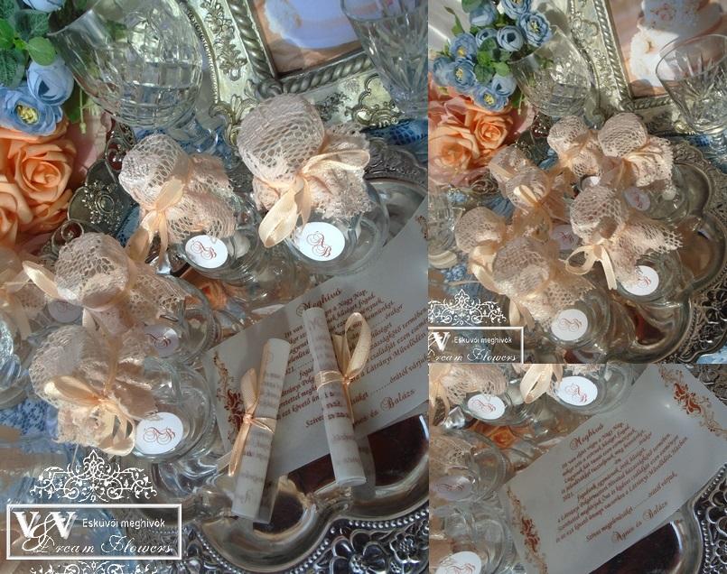 Palackposta esküvői meghívó barack csipkével