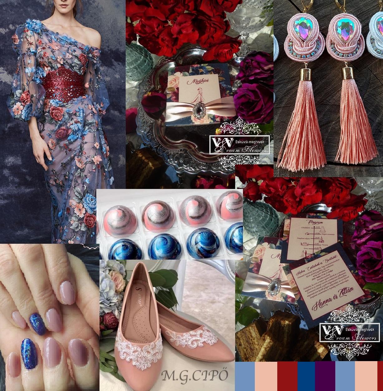 Vintage rózsás esküvői meghívó és szett kék és barack színekben
