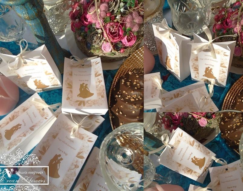 Esküvői köszönetajándék dísztasakok romantikus hercegnős mintával