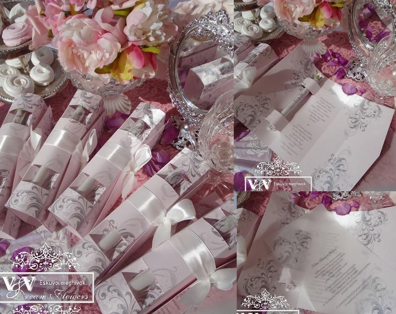 Kémcsöves esküvői meghívó díszdobozban rózsaszín ezüst