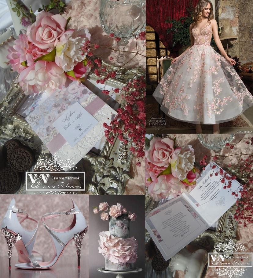 Csipkés esküvői meghívó vízfesték hatású rózsákkal
