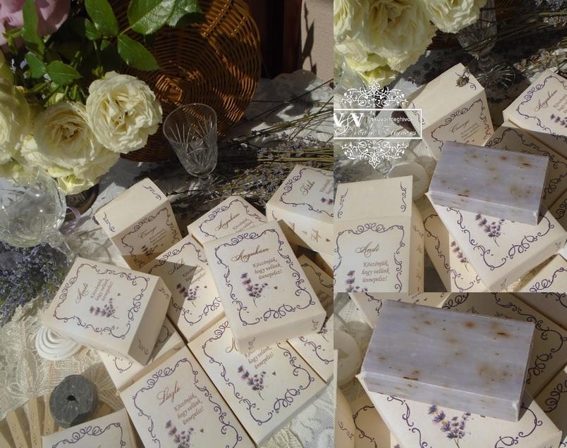 Levendulás esküvői szappan köszönetajándék díszdobozban